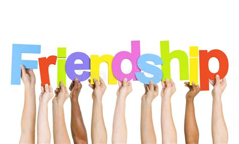 Multiethnic People Holding The Word Friendship Stock Image