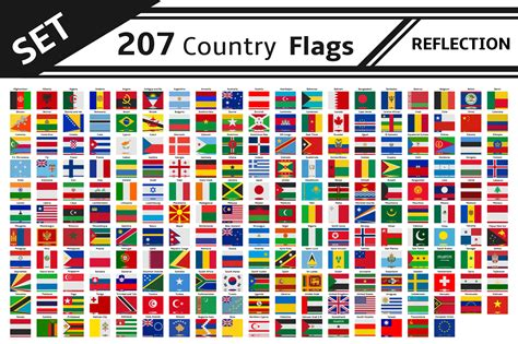 set 207 country flags reflection ~ Illustrations