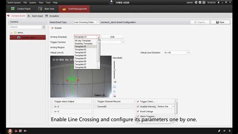How to setup line crossing detection on a Hikvision IP