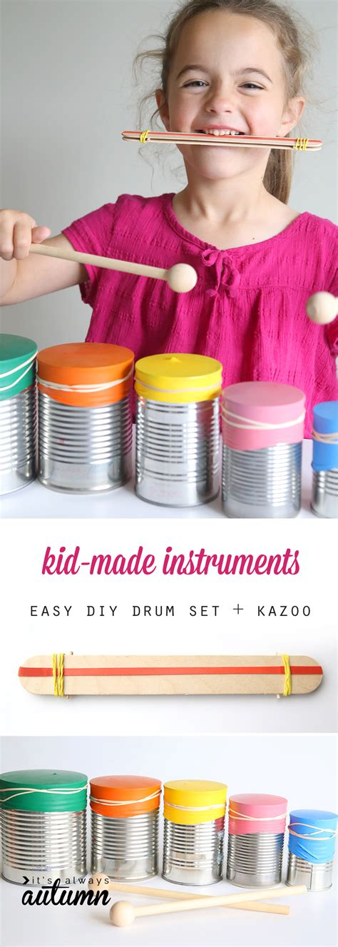 kid made drum set and kazoo {easy indoor craft} - It's
