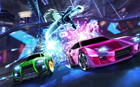 rocket league green and pink vehicle with lightning dragon