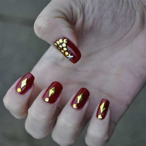 26+ Red and Gold Nail Art Designs , Ideas | Design Trends