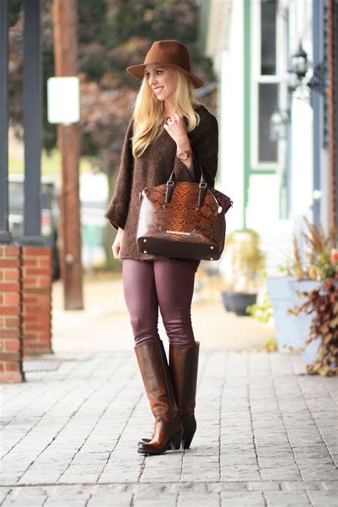 { Brown & Burgundy: Oversized sweater, Leather skinny