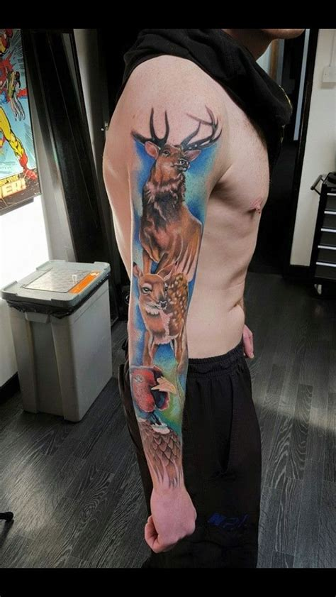 Hunting theme tattoo Pheasant stag duck | Outdoor tattoo