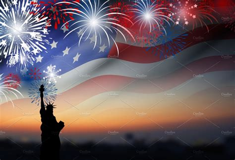 American flag with fireworks ~ Holiday Photos ~ Creative