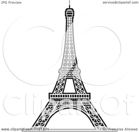 Clipart Of A Black And White Eiffel Tower 2 - Royalty Free