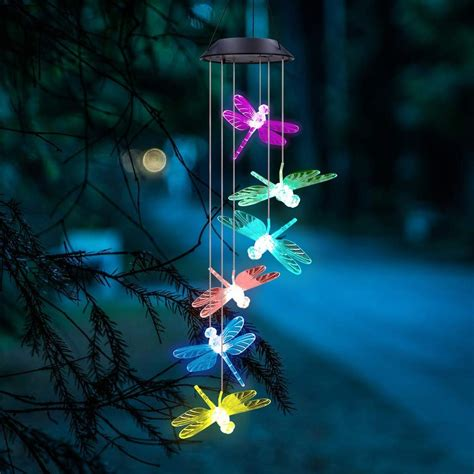 Color Changing Dragonfly Wind Chimes LED Mobile Solar