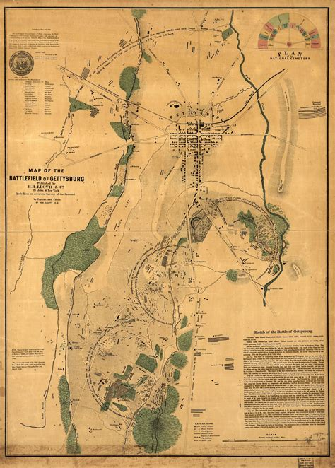 Map of the battlefield of Gettysburg | Library of Congress
