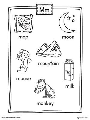 Letter M Word List with Illustrations Printable Poster