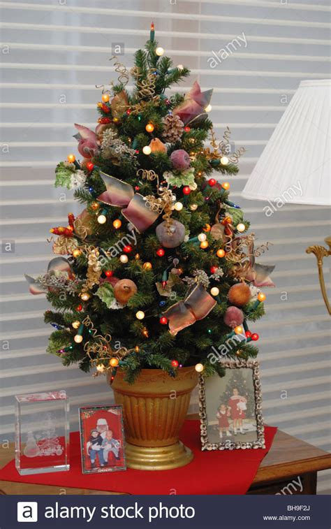 A small, elegantly decorated Christmas tree sits atop a