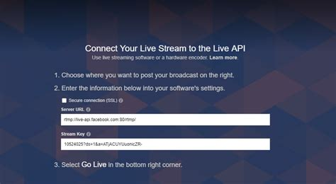 How to get the Facebook Stream URL of your page : Help
