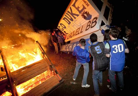 Students Celebrate UNC Win by Burning Benches   Duke Today