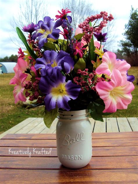 Spring Summer Wild Flowers ~ Country Mason Jar Floral